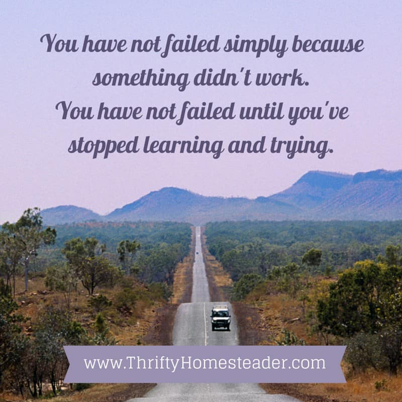 Quote: You have not failed simply because something didn't work. You have not failed until you've stopped learning and trying.