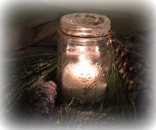 Mason Jar Winter Candle