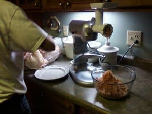 grinding turkey meat