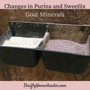 changes in purina and sweetlix goat minerals