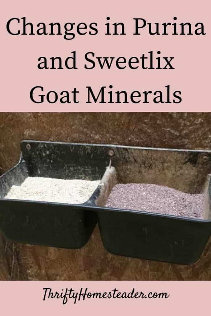 changes in Sweetlix and Purina Goat minerals