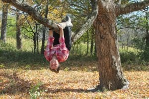 homeschooled girl hanging from tree