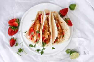 strawberry rhubarb tilapia tacos